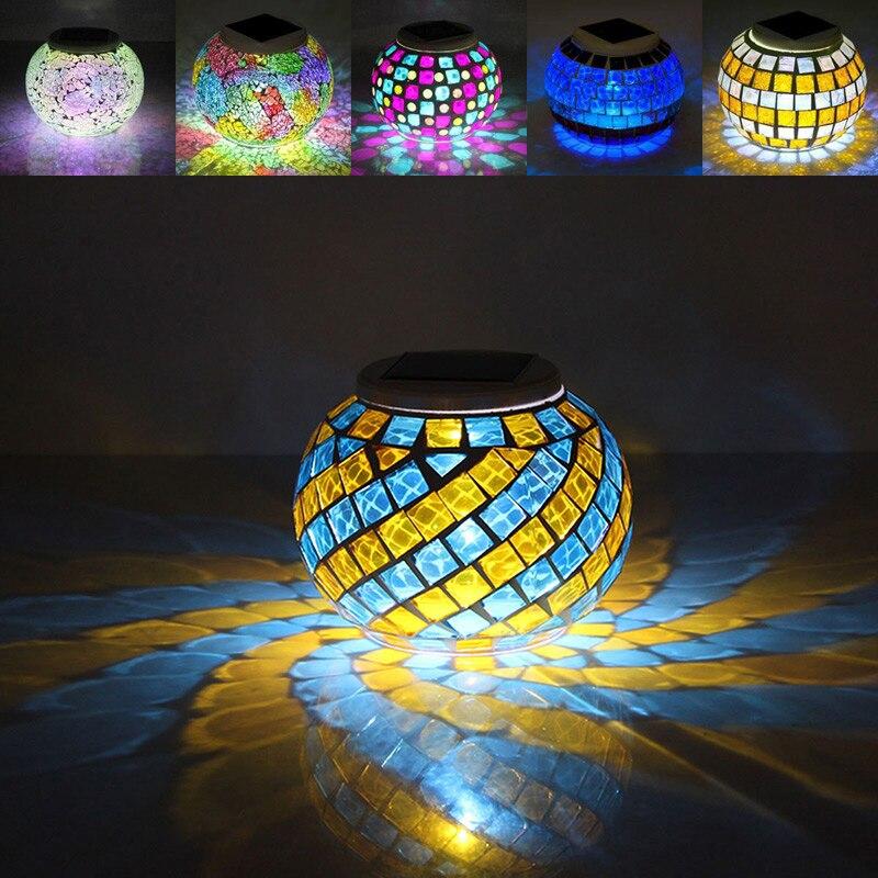 romance mosaico de vidro bola de vidro luz movido a energia solar luzes do jardim ao