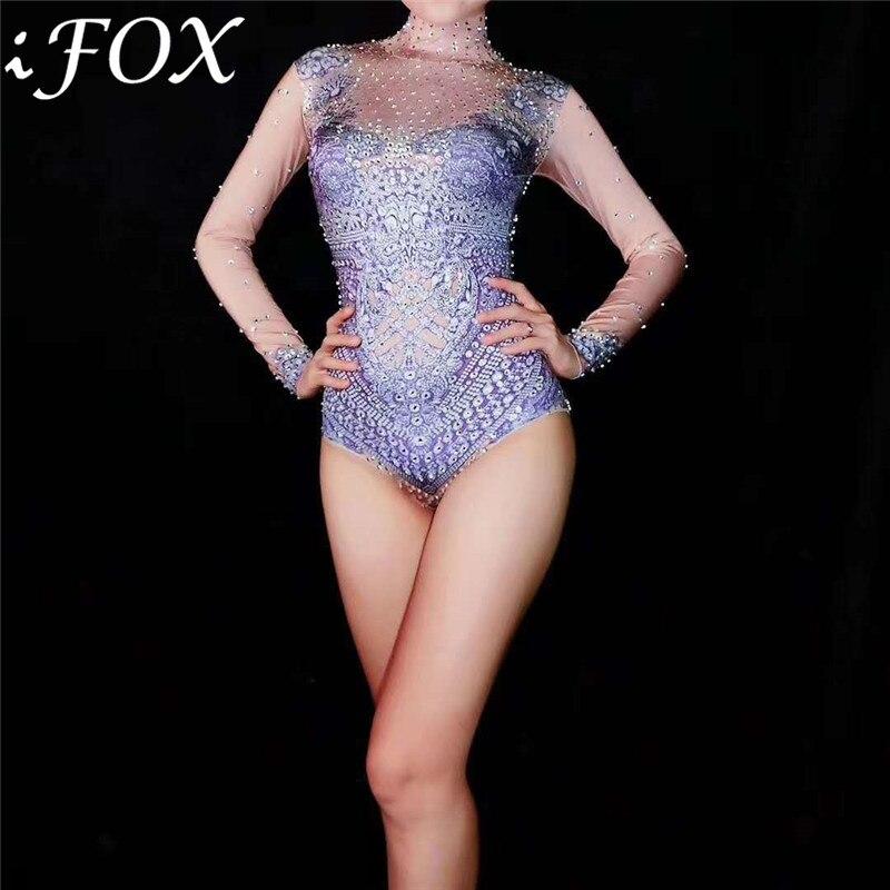 Luxueux strass violet barboteuses femmes combinaison à manches longues femme danseuse scène Performance combinaison mode Streetwear