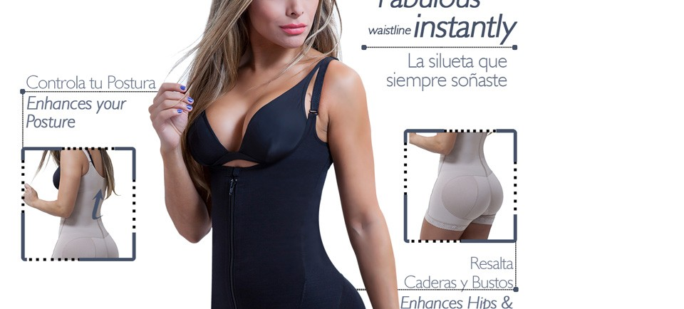 Full Body Shaper Buttock Lifter Tummy Control with Zipper Loverbeauty