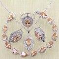 Olhos cor prata orange criado morganite branco topázio pulseiras conjuntos de jóias para as mulheres de casamento brincos/anel/colar/pingente
