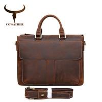 COWATHER Vintage TOP Genuine Leather Men S Messenger Bag Man Shoulder Sling Bag Laptops Bag