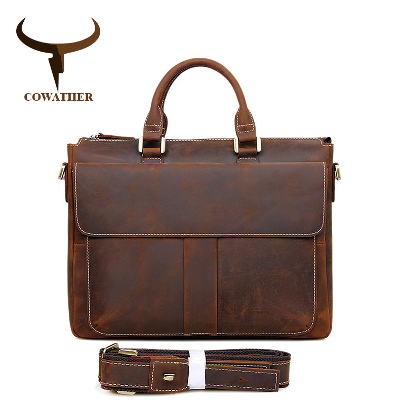 COWATHER Crazy Horse Leather Laptop Briefcases Best Selling Mens Shoulder Bag Vintage Handbag For Man