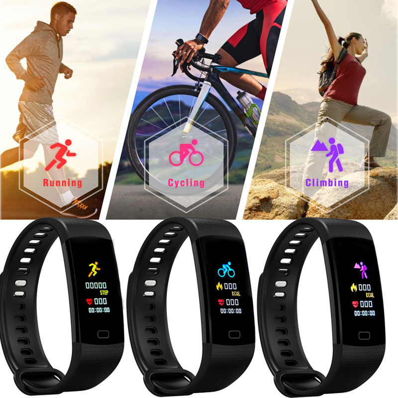 GIAUSA Fitness Women Smart Watch Men Bluetooth Heart Rate Blood Pressure Pedometer Clock LED Sport Watch For Android IOS Box in Smart Wristbands from Consumer Electronics
