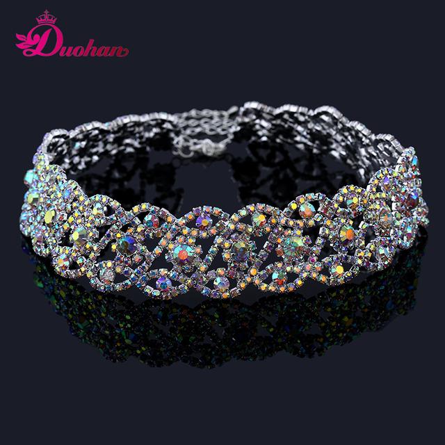 Nueva moda multicolor rhinestone choker collar collares para las mujeres de joyería de moda de lujo brillante de múltiples filas crystal choker