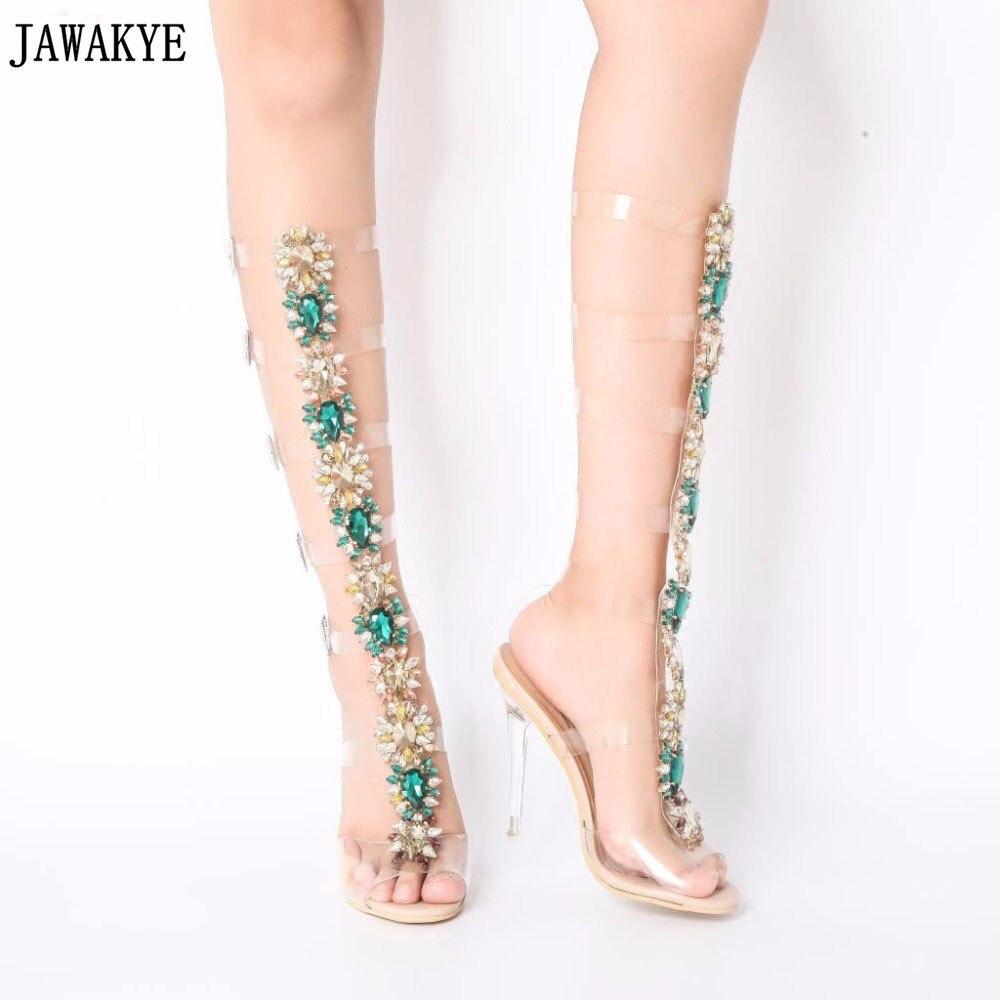 Jawakye Women Gladiator Clear Sandals Bling Bling Diamonds