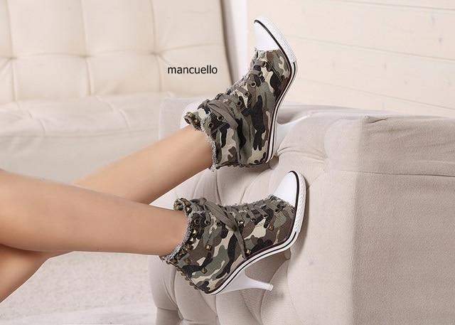 Mode Schuhe Ankunft Stiletto Heels Denim Stiefeletten Ausgefallene Lace Frauen Einzigartige Heel Us73 7neue Up Stil Muster High Pumps Camouflage 35RjA4Lqc