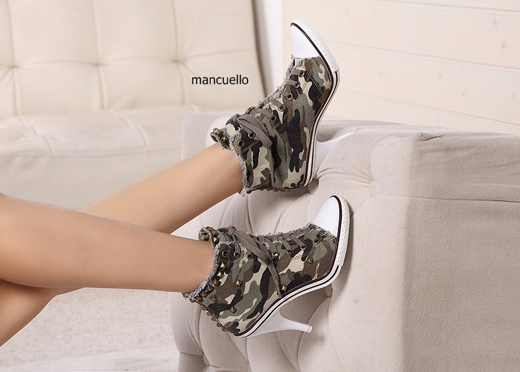 New Arrival Camouflage Pattern Denim Stiletto Heels Fancy Women Lace Up Ankle Boots Unique Style High Heel Pumps Fashion Shoes цена и фото