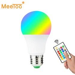 مصباح LED E27 RGB LED لمبة E27 15 واط 10 واط 5 واط RGBW عكس الضوء أمبولة LED أضواء ذكية للمنزل عطلة الديكور مع جهاز التحكم عن بعد