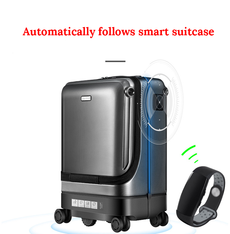 High-tech Trolley Case Electric Automatic Follow And Obstacle Avoidance Fingerprint Lock Travel Trolley Case 30L Large Capacity