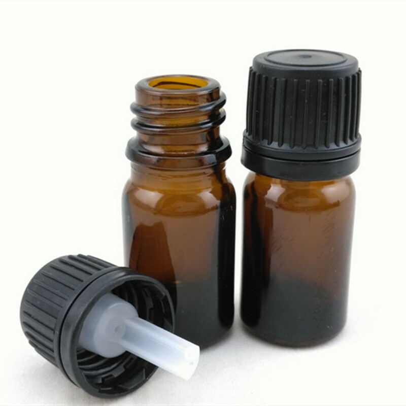 1pcs 5ml/10ml/15ml/20ml Empty Amber Brown Glass Euro Dropper Bottles Essential Oil Liquid Aromatherapy Pipette Vials Containers