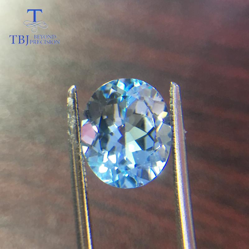 Tbj , Natural sky blue topaz oval cut 10*12mm approx 5.85ct loose gemstone for diy jewelry все цены