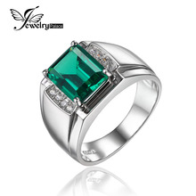 Jewelrypalace Males Luxurious 2.7ct Created Nano Russian Emerald Anniversary Wedding ceremony Ring Real 925 Sterling Sliver Jewellery