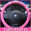 Ladycrystal Diamond Bling Bling Crown Pink Soft Leather Car Steering Wheel Cover Glove Girls Ladies Crystal Grip