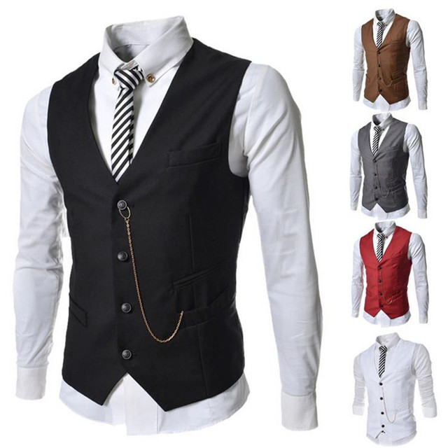 2016 Fashion Men's Waistcoat Metal Chain Decoration Slim Business Male Casual Vest Colorful Homme Stylish Brand Clothing 511 Z05
