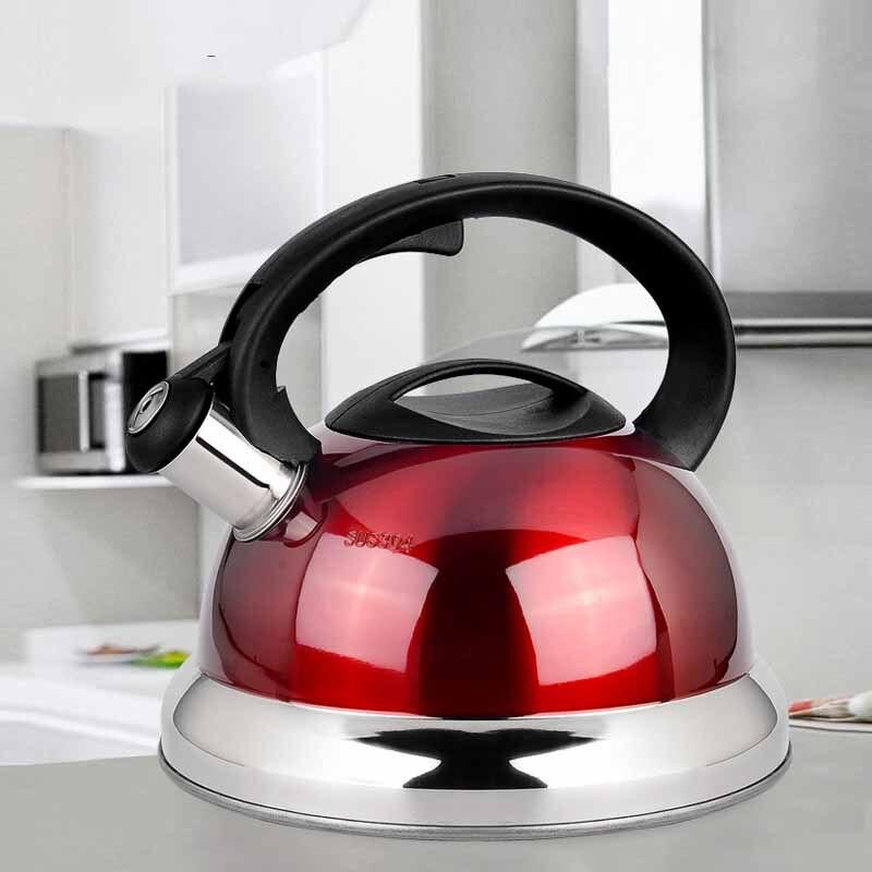 Чайник из нержавеющей стали свисток газ чайник большой емкости утолщение плита японский стиль 3L