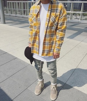 2019 Hip Hop Most popular justin bieber fear of god fog Men unisex flannel Long-sleeved plaid oversized dress shirt red yellow 건달 조폭 옷