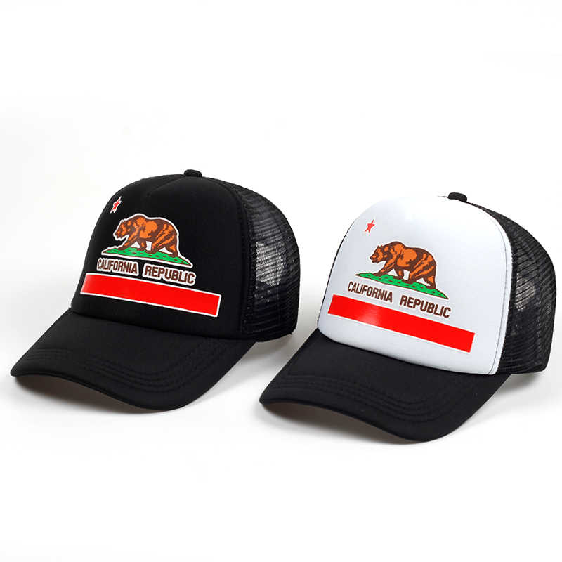 a758dd935 New Fashion Trucker Hat California Flag Snapback Mesh summer Cap Retro  California Love Vintage California Republic Bear Top cap