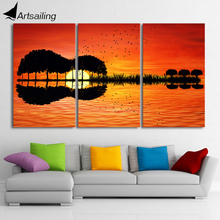 3 piece canvas wall art HD Printed lake Painting Canvas Print room decor print poster picture Free shipping/CU-1311B