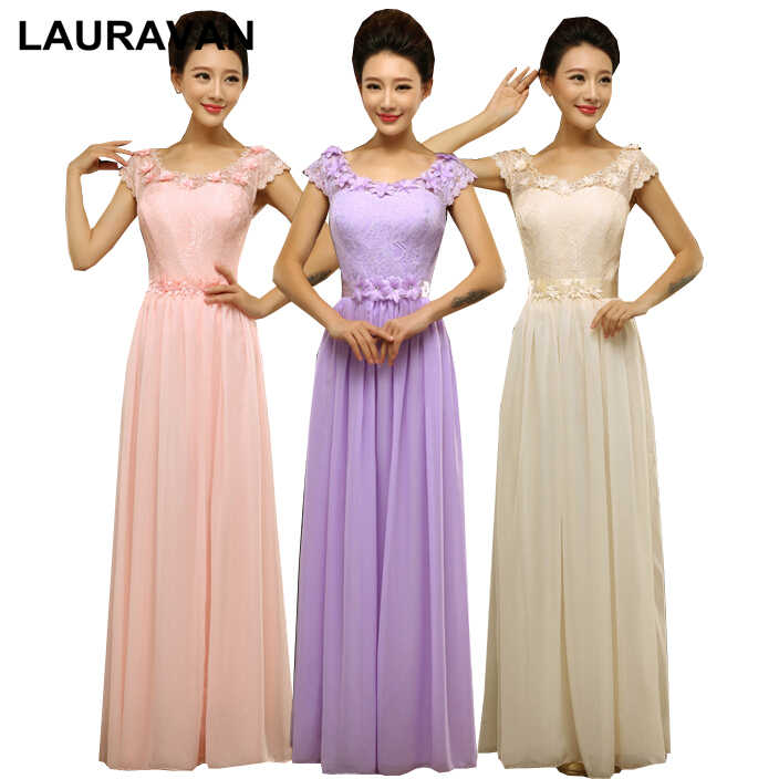 lilac floor length long chiffon lace up back lavender bridesmaid gowns dress  2018 dresses for wedding e9074464817b