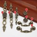 De metal Puxar Lida Com Botão de Cor Verde Bronze Anodizado para Móveis Porta Gaveta Armário armário Roupeiro Armário Bedstand Archaize