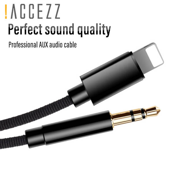 wholesale dealer a4d4e a0ab4 !ACCEZZ AUX Cable Car Audio Cord For iphone X 10 XS MAX XR 7 8 Plus  Converter 3.5mm Jack Headphone Adapter AUX Splitter Line 1M