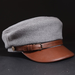 Boina de lana RY0909 de cuero auténtico Unisex para hombre/mujer, cinturón de piel de vaca, sombreros azules, gorras de béisbol Estilo marinero estudiantes, gorras de béisbol de Hip-hop