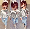 2017 new spring and autumn baby girls clothes set 2pes stripe long sleeve shirt+ jeans kids clothing free shipping