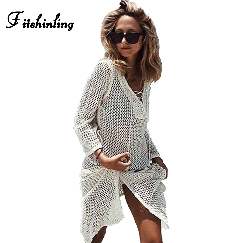 Summer style knitted summer beach dresses for women lace up crisscross hollow out dress swimwear 2017 split white pareos sale