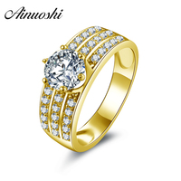 AINUOSHI 10k Solid Yellow Gold Band Rings Prominent 1 ct Round Cut Cubic Zircoina 3 Rows Drill Pure 10K Gold Fine Jewelry Ring