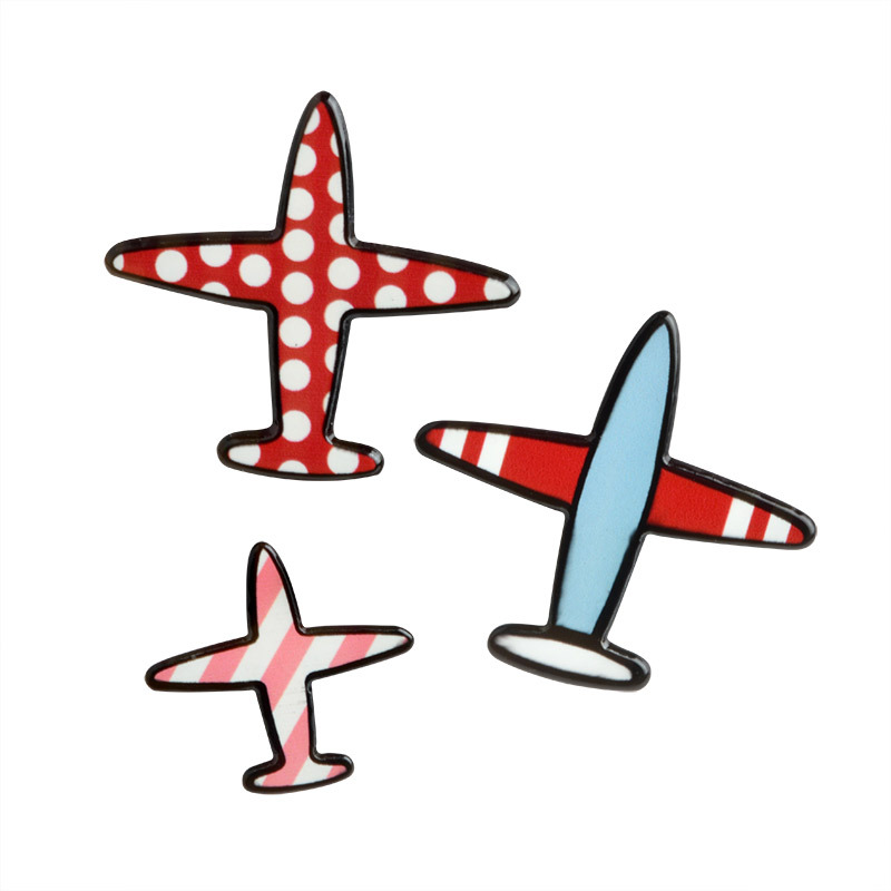 3 Pce/Set Red Polka Dot Pink Stripe Red and Blue Airplane Metal Enamel Brooch Cute Cartoon Trendy Clothes Backpack Jewelry Gift image