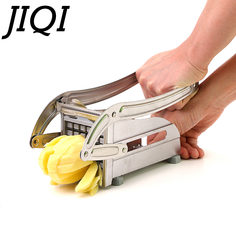 JIQI Stainless Steel French Fry Potato Strip Cutter Potatoes Chips Cutting Machine Hand Push Fries Chopper Slicer 8mm 10mm Blade