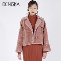 DENISKA Casual Women Woolen Coat 2018 Winter Short Turn Down Collar Solid Color Double Breasted Female