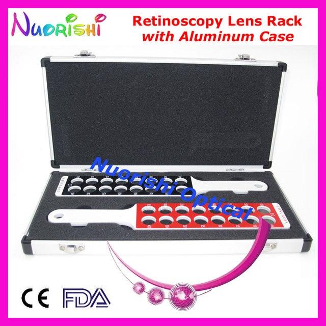 E03-9 оптометрия оптическая ретиноскопия совета объектива стойки в сплошной белый ручка флиппер упакованные алюминиевый чехол бесплатная доставка