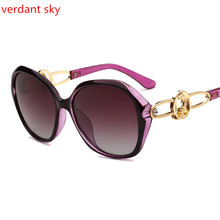 2017 Mujeres Polarizadas gafas de Sol Retro Redondo Grande Frame PC Marca Gafas de Sol de diseño de Lujo de Las Señoras de Conducción gafas de sol mujer caja