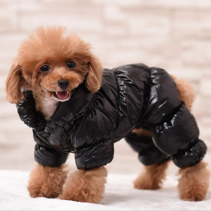Warm Winter Dog Jumpsuit Coat Vattentät Pet Snowsuit 3 Color Fleece Pet Outfit Hund Kläder Svart Rosa Blå XS S M L XL 2XL 3XL