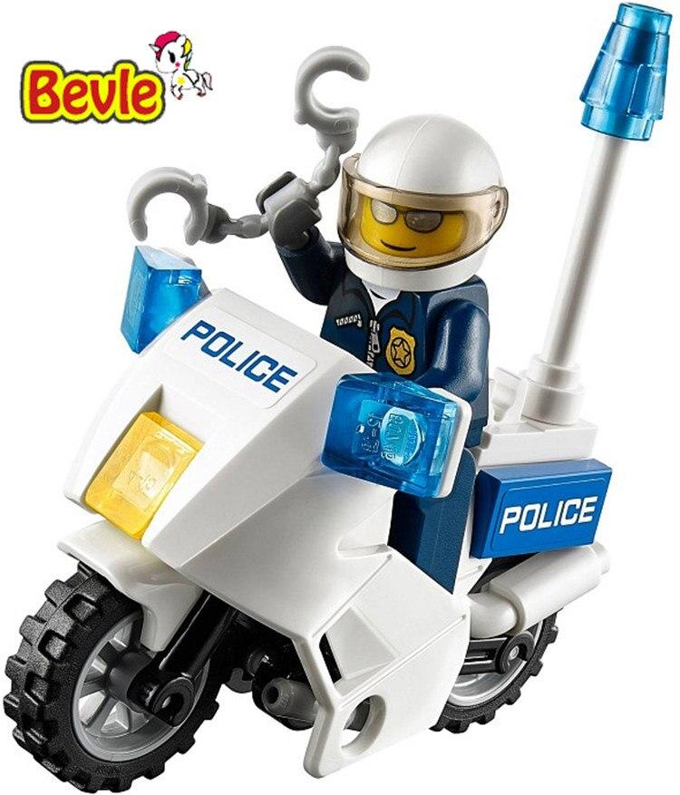Bevle Bela 10416 Urban City Police Motorcycle Pursuit of prisoners Building Block Toys Compatible with Lepin L60041 compatible lepin city block police dog unit 60045 building bricks bela 10419 policeman toys for children 011
