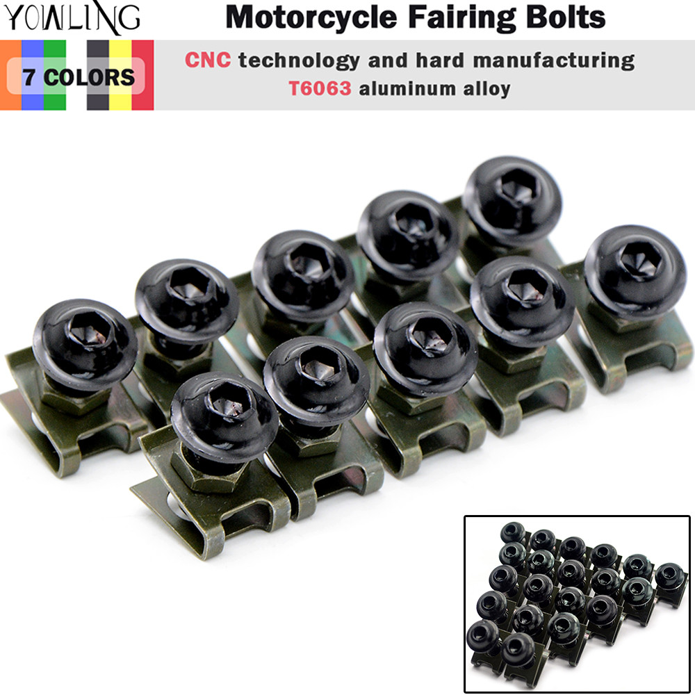Universal 6mm CNC motorcycle Accessories body work fairing bolts screws for bmw s1000rr 650nk bn600 lx650 R1200GS S1000RR HP4 K4 brand new cnc universal motorcycle accessories fairing body work bolts screws for ducati monster 795 1200 s carbon