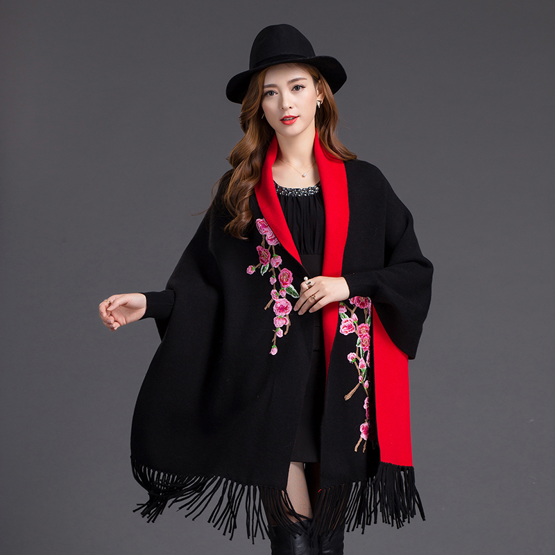 New Arrival Black/Red Women's Cashmere Reversible Poncho Zizith Embroider Flowers Pashmina With Bat Sleeve Shawl Scarf 1127