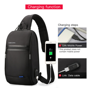 Image 3 - Kingsons Male Chest Bag Crossbody Bag Small Single Shoulder Strap Back pack Casual Travel Bags