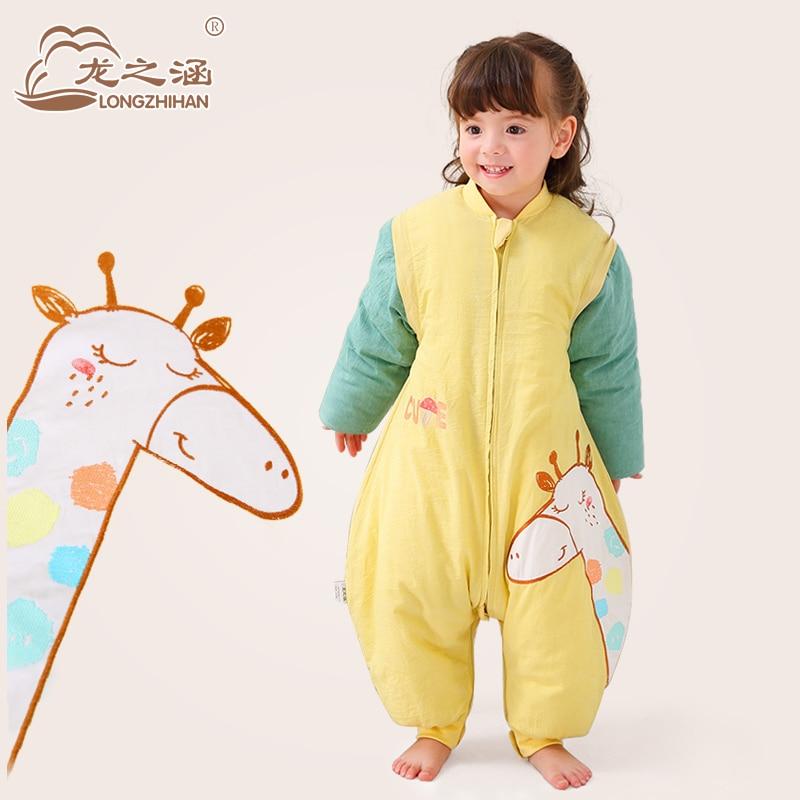 Спальный мешок для малышей 100% хлопок комфортного сна мешок с рукавом милый мультфильм Детские Конверты для малышек съемный вкладыш спальный мешок