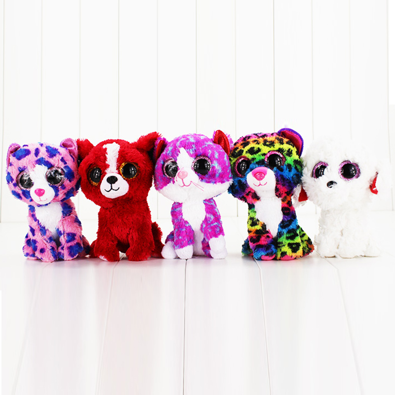 5styles 15cm Ty Beanie Boos Plush Toys Beanie Babies Big Eyes Purple Penguin Multicolor Leopard White