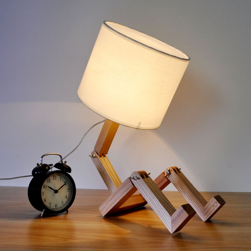 Modern Simple Fold style wood desk lamp for Bedroom study room,cloth lampshade Wooden table Lamp Robot Bedside lamp Reading lamp bedroom table lamp modern simple wood stand table lamp with fabric lamp shade desk lamp study lamparas kumastb