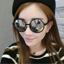 Round Sunglasses Women Men Brand Mirrored Glasses Retro Black Frame Female Male Sun Glasses