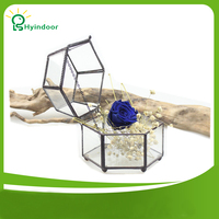 Garden Supplies Flower Pots Modern Vintage Faceted Hexahedron Decorative Flower Pot Fairy Gardening
