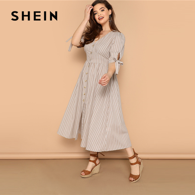 SHEIN Plus Size Multicolor Knot Cuff Button Up Striped Dress 2019 Women Summer Boho V Neck Half Sleeve Cotton Shift Long Dresses 3