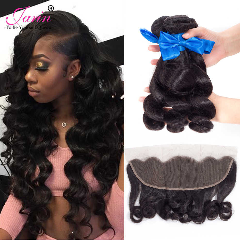 Jarin Hair Peruvian Loose Wave With Closure 3 Bundles With 13*4 Free Part Middle Part Ear to Ear Lace Frontal Remy Hair 8-28
