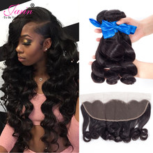 Jarin Hair Peruvian Loose Wave With Closure 3 Bundles With 13*4 Free Part Middle Part Ear to Ear Lace Frontal Remy Hair 8-28(China)