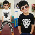 Size100~140 child tops kids tees children long sleeve t-shirts for boys t shirts girls spring autumn clothes leopard head face