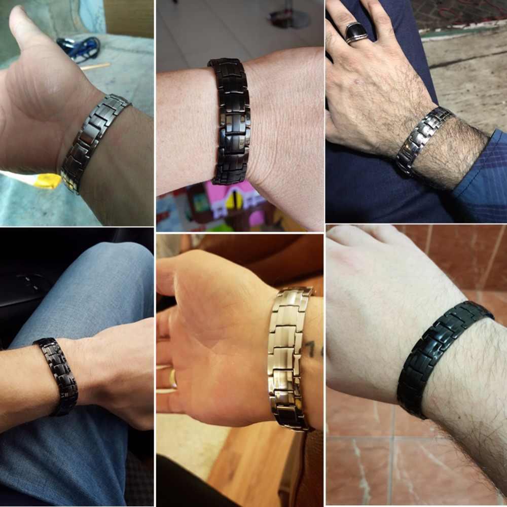 Vinterly-pulsera magnética de acero inoxidable para hombre y mujer, brazalete negro con cadena de mano, germanio, salud energética