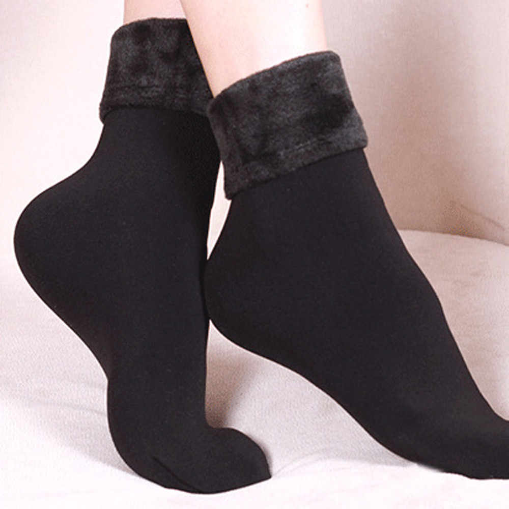 1 Pair Women Winter Warm Thicken Thermal Soft Casual Solid Color Socks Wool Cashmere Home Snow Boots Velvet Floor Socks L*5